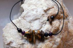Bransoletka z kamieni naturalnych tygrysie oko i agat ciemny fiolet