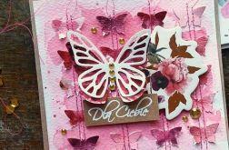 Motyl na różowym tle
