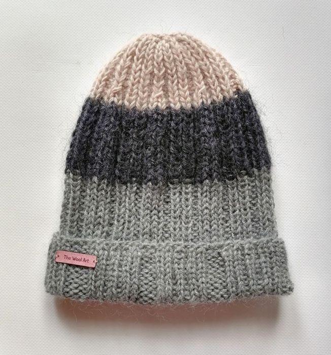 lekka czapka z merino szara,różowa
