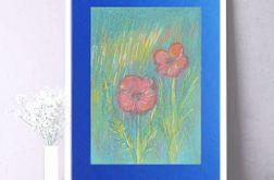 Rysunek z kwiatami na granatowym tle nr 3