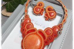 Naszyjnik i kolczyki sutasz pomarańczowy