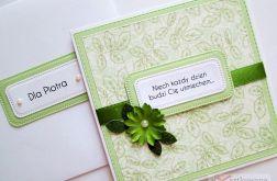 Kartka Z ŻYCZENIEM zielono-biała