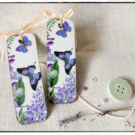 Zakładka do książki, Motyle i kwiaty