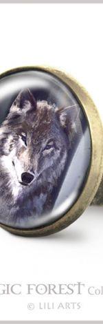 Pierścionek - Szary wilk - antyczny brąz