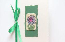 Kartka z kokardką i z kwiatkiem malow. nr 9