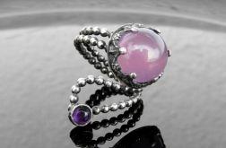 Pierścionek srebrny z agatem lila i ametyst