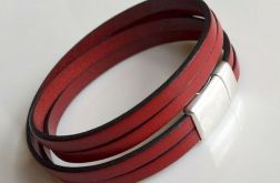 Bransoletka red leather