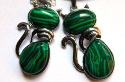 Kotek z zielonym malachitem, zestaw biżuterii