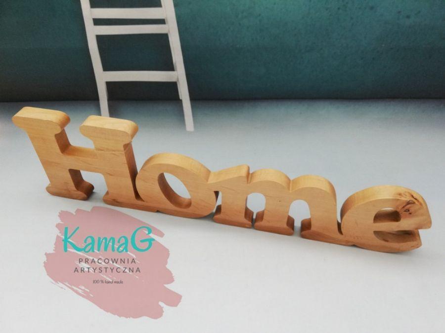 Drewniany napis HOME -