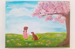 """Obraz """"Dziewczynka z psem"""""""