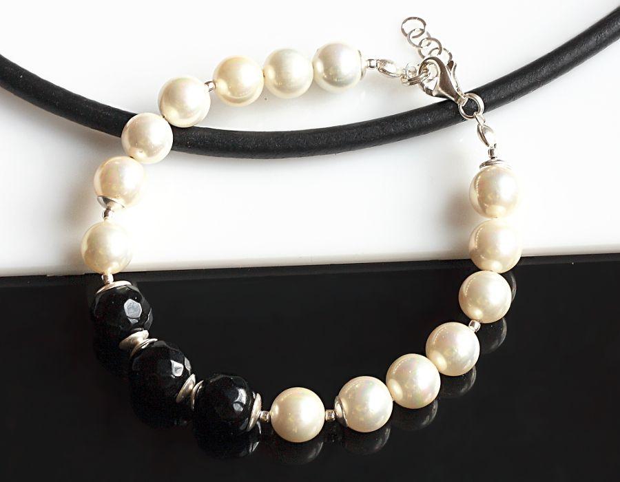 Biało-czarna bransoletka