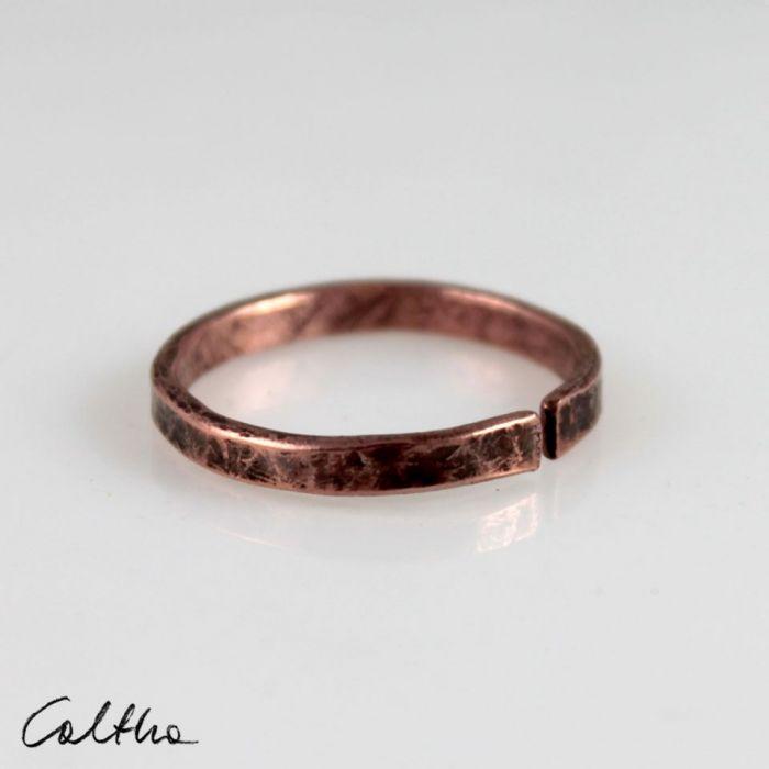 Miedziana obrączka 200131-02 - Nieregularny pierścionek