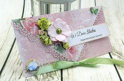 Kopertówka z okazji ślubu- wiosenne kwiaty
