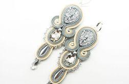 kremowo-srebrne kolczyki z kryształkami