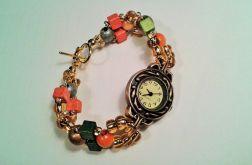 bransoletka z zegarkiem, kolorowa