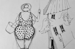 Rysunek piórkiem LECĘ artystki A.Laube