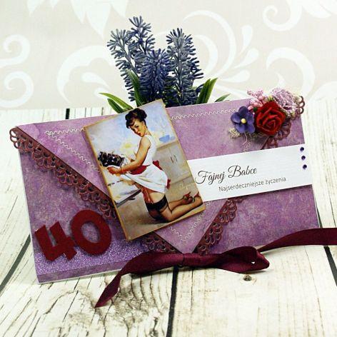 Kartka na 40 urodziny z pin up girl (k5)