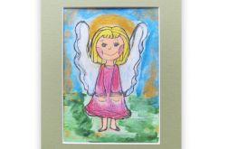 rysunek aniołek obrazek ręcznie malowany