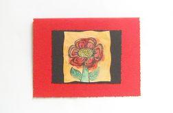 Kartka uniwersalna czerwona z kwiatkiem  8