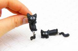 Kolczyki Czarny kot - wkrętki wiszące