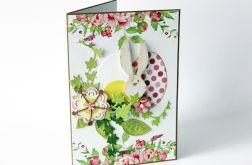 Kartka wielkanocna z wesołym zającem