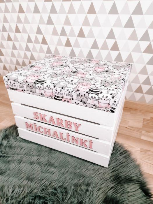 Skrzynia pufa na zabawki z siedziskiem KOTKI - skrzynia pufa na zabawki loo loo dream