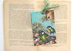 Vintage zakładka do książki - ptaszki