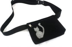 Waist pouch with gray cat