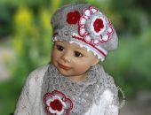 komplet czapka z chusteczką -szaro -  czerwonana