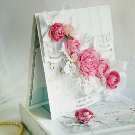 Pastelowa kartka ślubna w komplecie z pudełkiem. WZÓR.