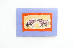 Kartka fioletowa z ptaszkami nr 1