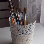 Metalowa ręcznie malowana doniczka
