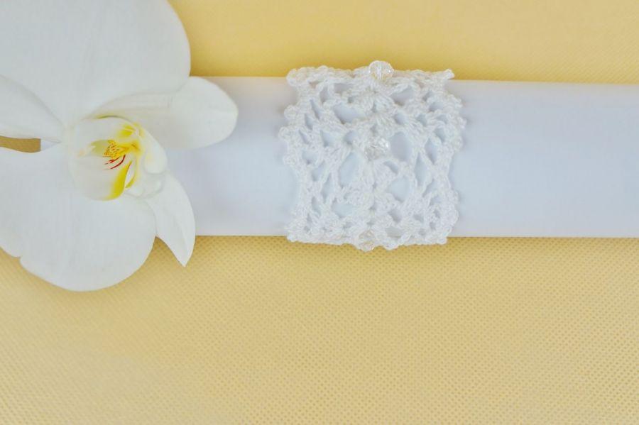 Bransoletka szydełkowa biała 5 - Bransoletka pleciona