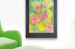 Rysunek kwiaty na czarnym tle nr 8