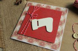 Kartka Boże Narodzenie świąteczna skarpeta