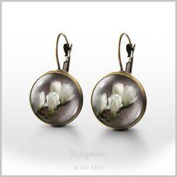 Kolczyki - Magnolia - bigle angielskie - antyczny brąz