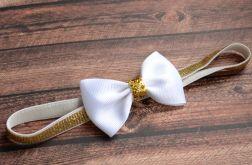 opaska do włosów biała kokardka na chrzest