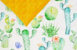 Kocyk Velvet(L)ove SLIM kaktusy - musztardowy