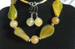 Labradoryt i agat, elegancki zestaw biżuterii