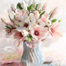 Obraz na płótnie magnolie w wazonie, 80 x 100