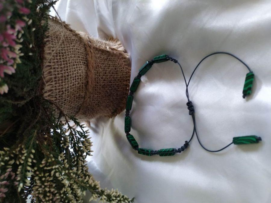 Bransoletka z naturalnego malachitu makrama - Regulowana długość