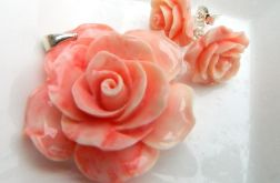 Róża,różyczki, wisiorek,kolczyki,koral,srebro