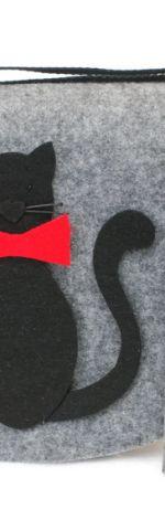 Zestaw torebka z etui koty z kokardą