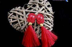 Długie czerwone kolczyki sutasz z chwostami