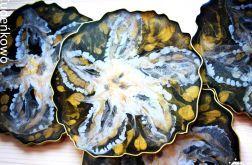 Zatopki podstawki złote kwiaty