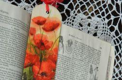 Zakładka z drewna - Maki, polne kwiaty
