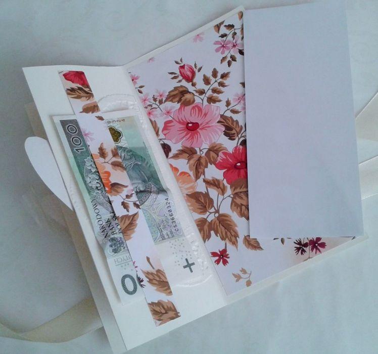 kartka  z kwiatami i sercami,  składana - kartka na ślub