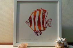 barwna grafika ryba koralowa linoryt 2