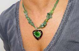 Naszyjnik Zielony – kwiat w sercu