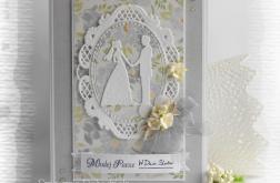 Pamiątka ślubna z Młodą Parą szara